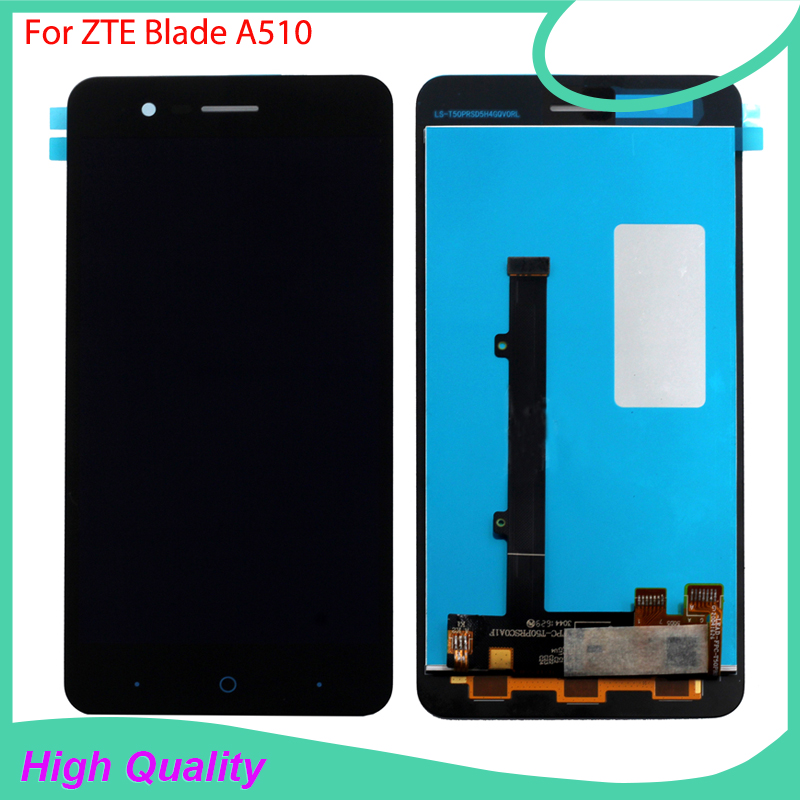 Подробнее о Black Full LCD Display For ZTE Blade A510 BA510 BA510C TD-LTE Touch Screen Digitizer Assembly Replacement With Tracking white black for zte blade a610 td lte lcd display touch screen digitizer assembly replacement free shipping