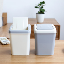 Desktop Trash Can Coffee Table Paper Small Plastic Car Mini Shake Cover with Lid Waste Basket 3