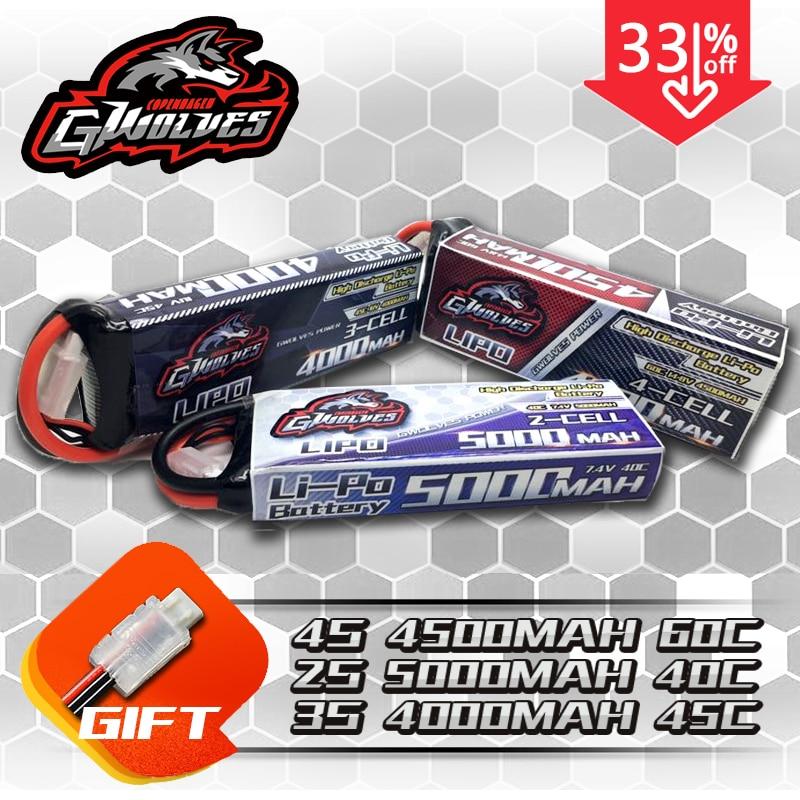 Haute qualité course RC lipo batterie 2 s 7.4 V 5000 mah 40c 3 s 11.1 V 4000 mah 45c 4 s 14.8 V 4500 mah 60c RC voiture bateau avion Quadrotor