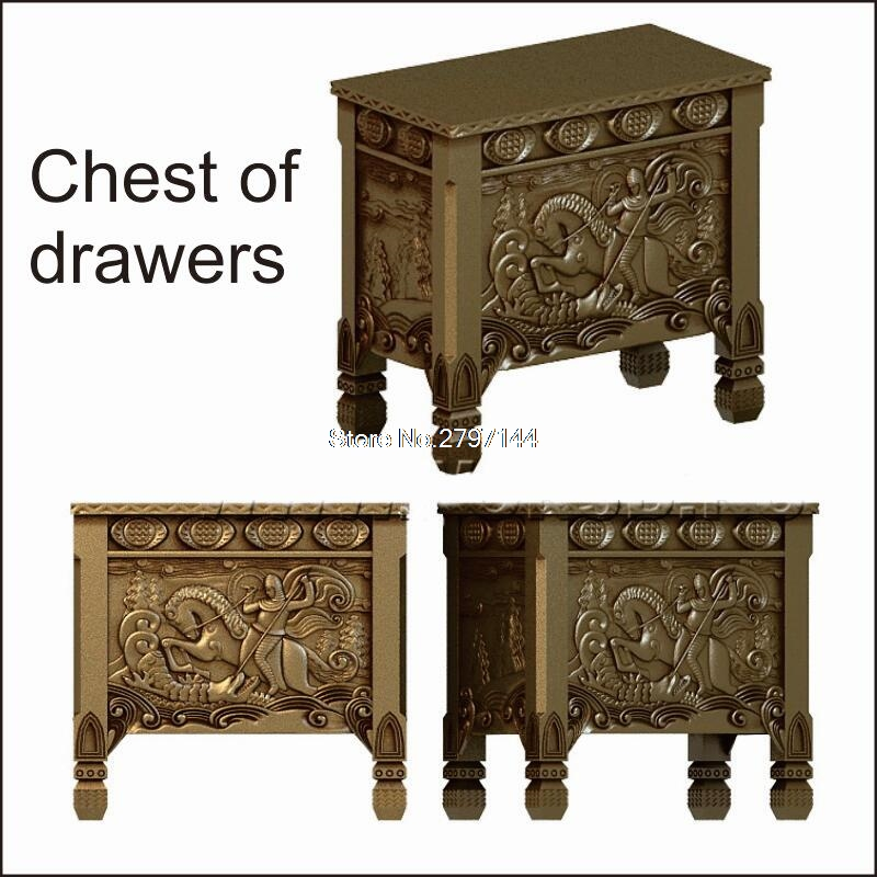 5pcs Chest Of Drawers 3D STL Model For Carved Figure Cnc Machine Router Engraver ArtCam Komod Model Design