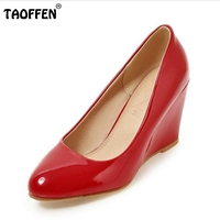 TAOFFEN Size 33 43 Women Wedges Shoes Pointed Toe Patent Leather Pumps Pure Color Shoes Women