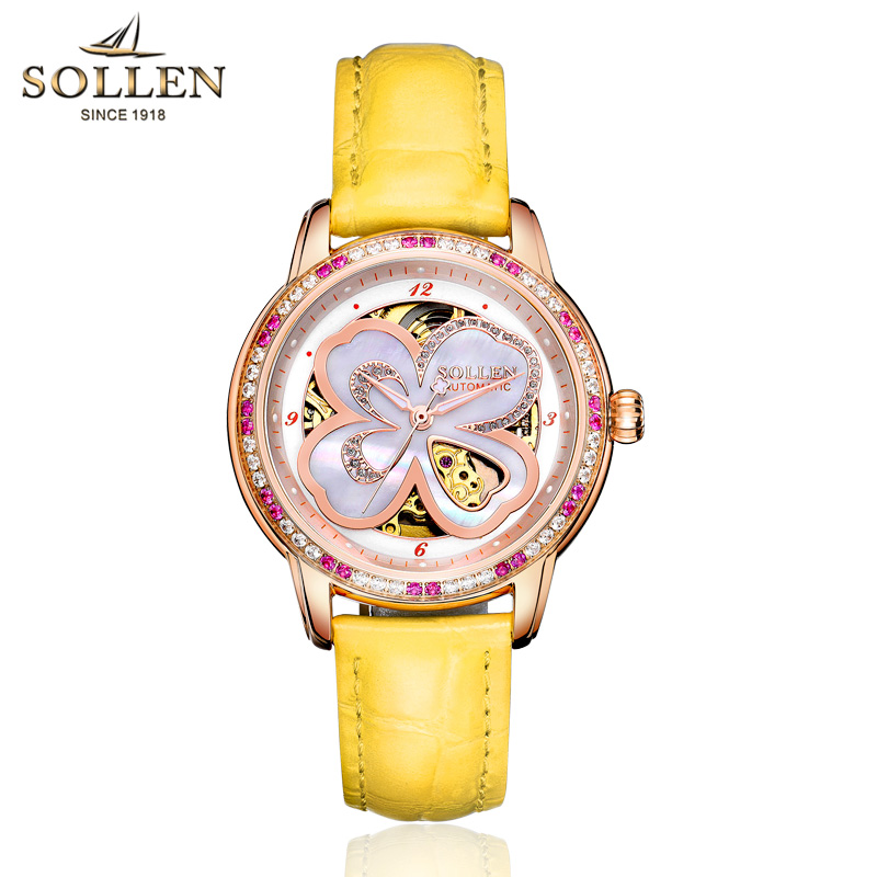 SOLLEN Automatic Watch Women Luxury Leather Waterproof Mechanical Watches Skeleton Diamond Lady Elegant Wristwatch Reloj Mujer lucky 2018 clover new fashion genuine leather womens watch ol lady diamond automatic mechanical watches women reloj femenino