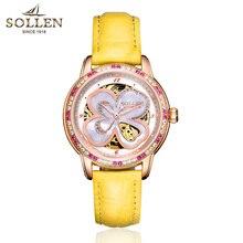 SOLLEN Automatic Watch Women Luxury Leather Waterproof Mechanical Watches Skeleton Diamond Lady Elegant Wristwatch Reloj Mujer