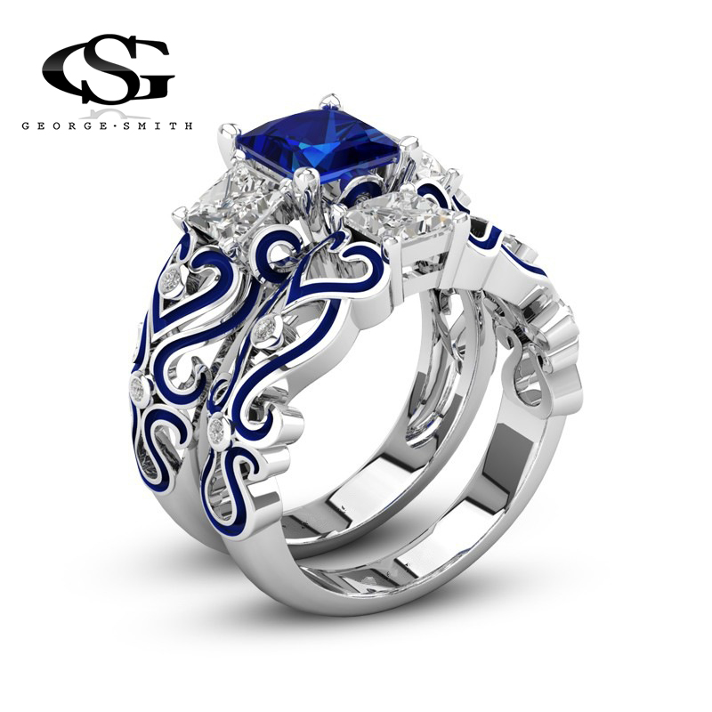 GS New Fashion Square Crystal Engagement Wedings Rings For Women Men Blue Silver Plated Ring Set Jewelry Dropshipping R4 ...