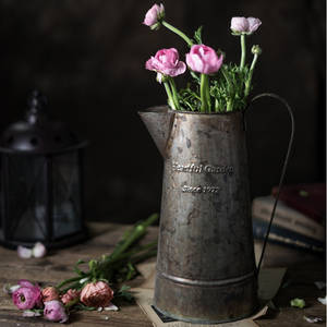 Arrangement Florists Flower Retro Barrel-Handles English-Printing American Old Wrought-Iron