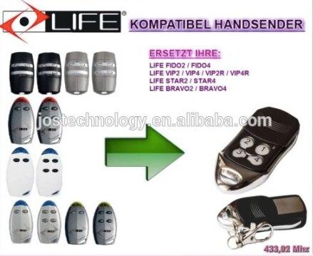 LIFE FIDO2 / FIDO4 / VIP2 / VIP4 / VIP2R / VIP4R / STAR2 / STAR4 / BRAVO2 / BRAVO4 replacement garage door remote fido
