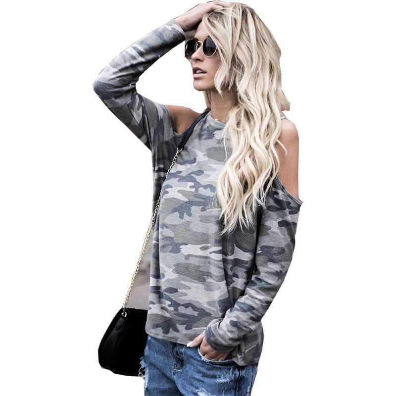 Женская футболка, 2019, модная, дикая, камуфляжная, с принтом, длинный рукав, с открытыми плечами, женская футболка, футболка, vestidos, Прямая поставка, KF1150