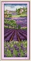 Lavender Champaign Scenic DMC Cross Stitch Kits 14ct White 11ct Printed Embroidery DIY Handmade Needle Work