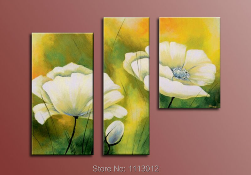 Lage Hand Painted Abstract Home Decoration Flower Oil Painting On Canvas 3 Panel Art Set Modern Living Room Wall Picture Sale
