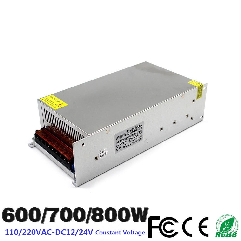 DC12V 24V 600W 700W 800W 50A 58.3A 66.7 25A LED Driver Switching Power Supply SMPS 110/220VAC Constant Voltage Transformer CCTV