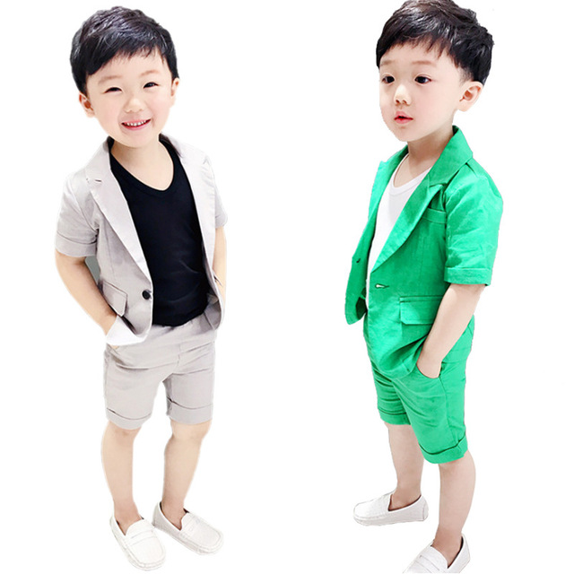 2019 Boys Formal Suits Summer 2pcs Short Sleeve Blazer+Shorts Children Kids Wedding Clothing Sets Prom Performance Costumes