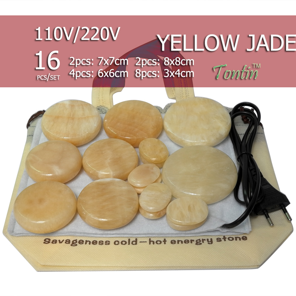 цены New Natural Energy massage stone set hot spa rock yellow jade stone 16pcs with heater bag