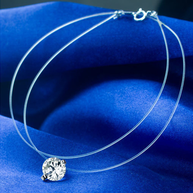 Hot Sale Fashion Cz Stone Crystal Zircon Necklace Invisible Transparent Fishing Line Chain Pendant Necklace For Women