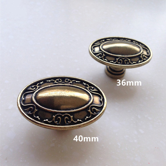 40mm 36mm ellipse kitchen cabinet drawer knobs pulls antique brass dresser cupboard  door handles vintage style - 40mm 36mm Ellipse Kitchen Cabinet Drawer Knobs Pulls Antique Brass