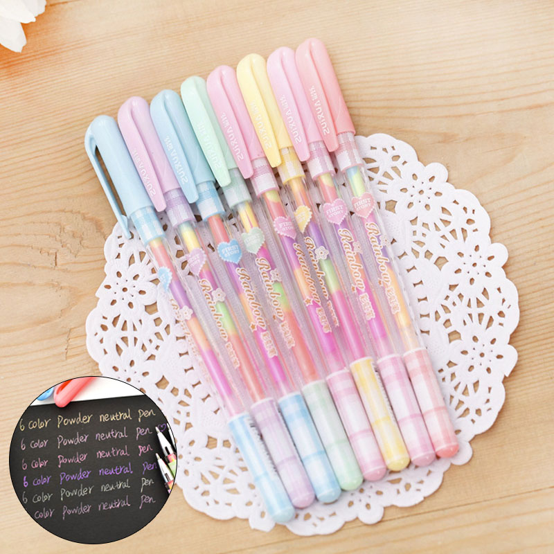 5 Pcs/ Lot Creative Rainbow Water Color Gel Pens Kawaii 6 In 1 Colorful Gouache Pastel Pen For Painting Drawing School Supplies