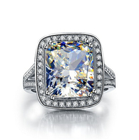 Luxury 8 ct cushion cut synthetic engagement diamond ring for women 18k white gold plated Wedding ring(BB)