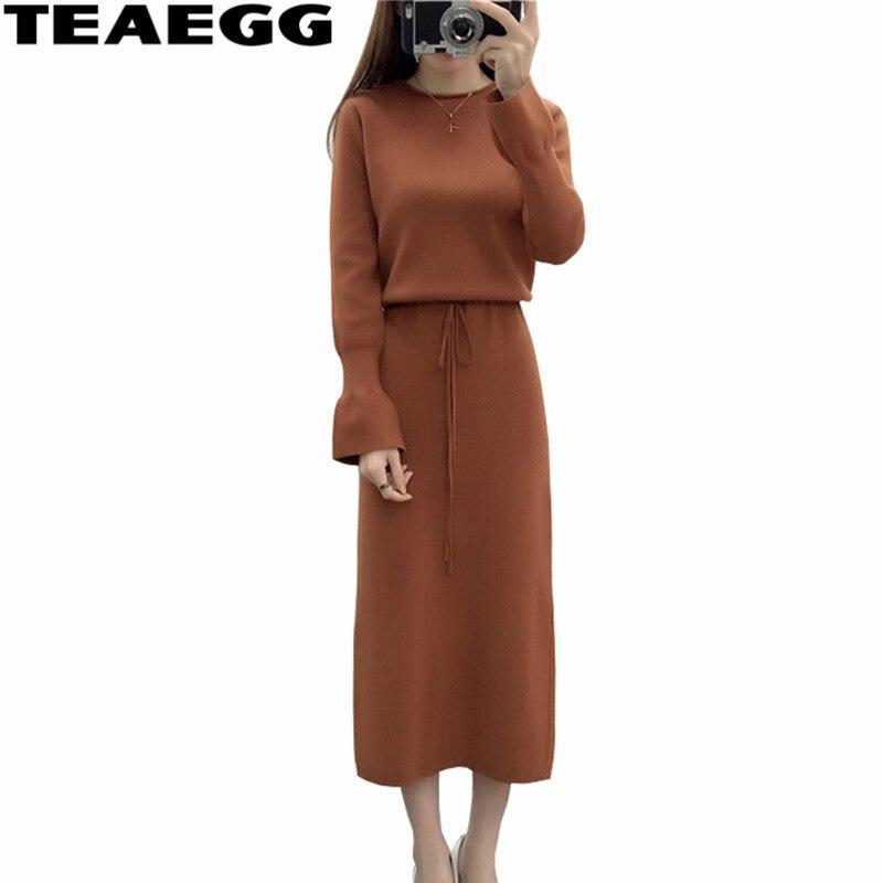 Teaegg тонкий Для женщин зимние платья Vestido De Invierno Осень коричневый Kintted свитер женская одежда 2017 Длинные платья al648