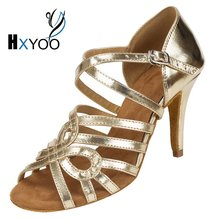 HXYOO 2017 New Arrived Salsa Latin Shoes Dance Women Ballroom Dance Shoes Tango Gold Silver Soft Sole Professional WK027