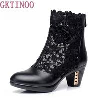 Spring And Autumn Thick Mid Heel Genuine Leather Lace Cut Out Summer Women Fashion Sandals Ankle