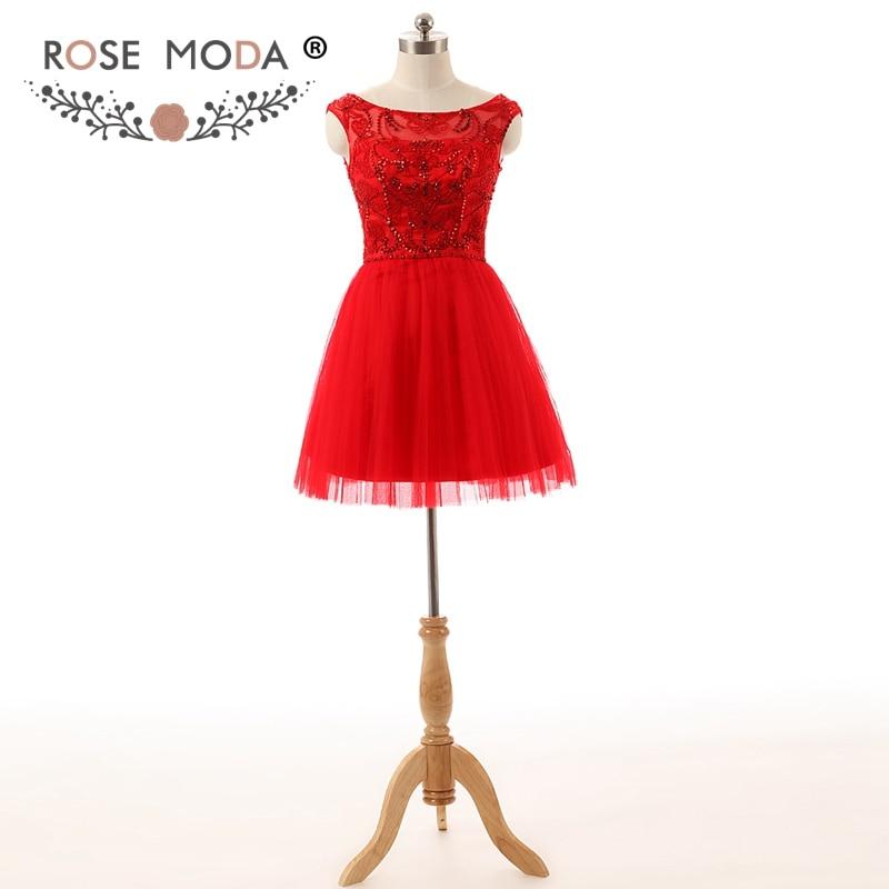 Rose Moda Short Red Prom Dress V Neck Crystal Prom Dresses Xmas Party Dresses 2019