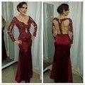 Темно-красный русалка вечернее платье с длинным рукавом кружева аппликация бисероплетение-line сексуальная V шеи видеть сквозь назад формальное вечернее платье