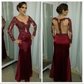 Dark Red Mermaid Evening Dress Long Sleeve Lace Applique Beading Sexy V Neck See Through Back Long Formal Evening Gown