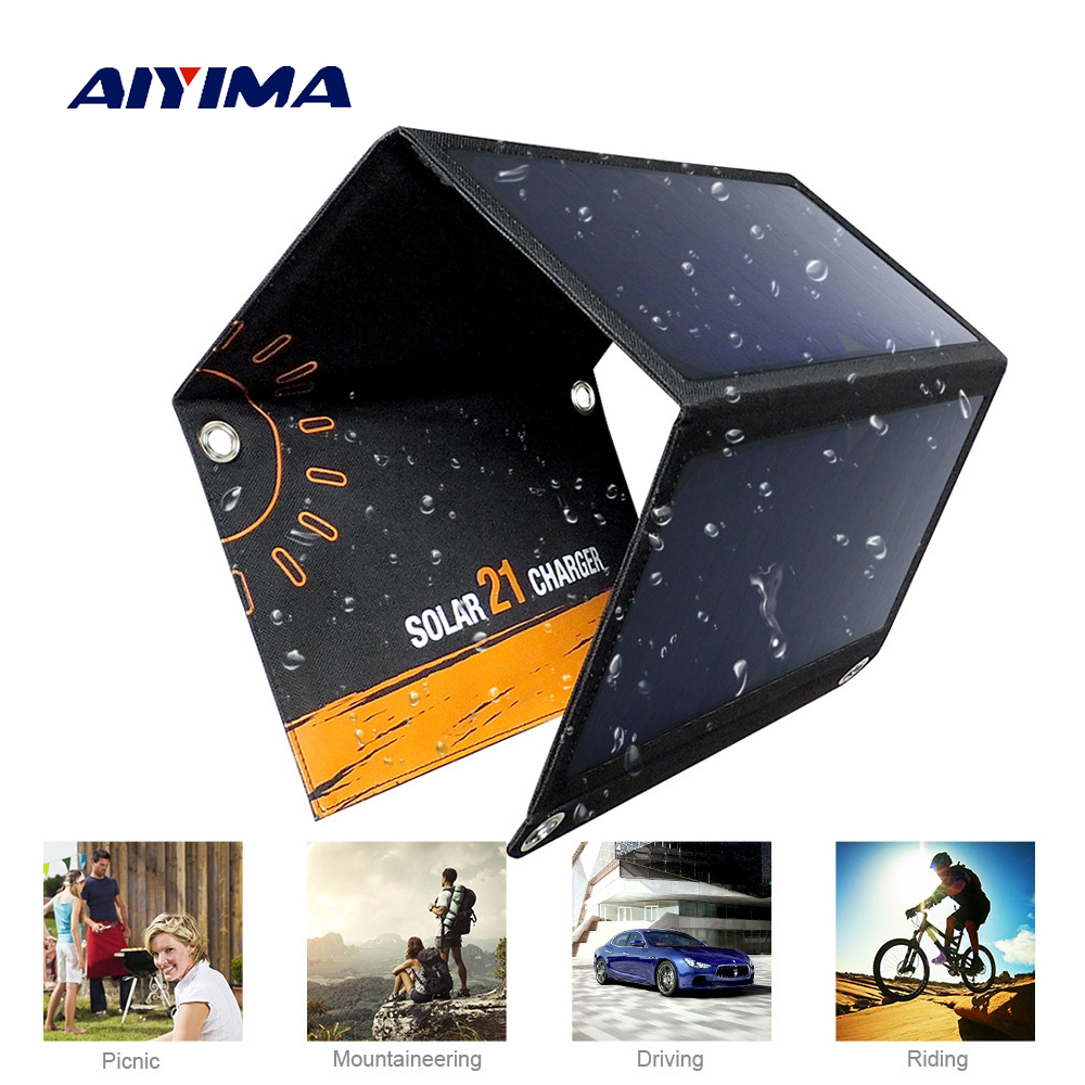 AIYIMA Portable Foldable 21W Solar Charger Powerport Sun Power Panel Charge with 2 USB Port Charging