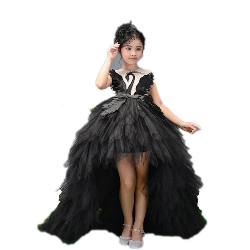 De luxe Traînant la Longue Fleur Fille Robes robe de Bal Enfants Pageant Robe de Fête D'anniversaire Superbe Cygne Plume Princesse Robes E109