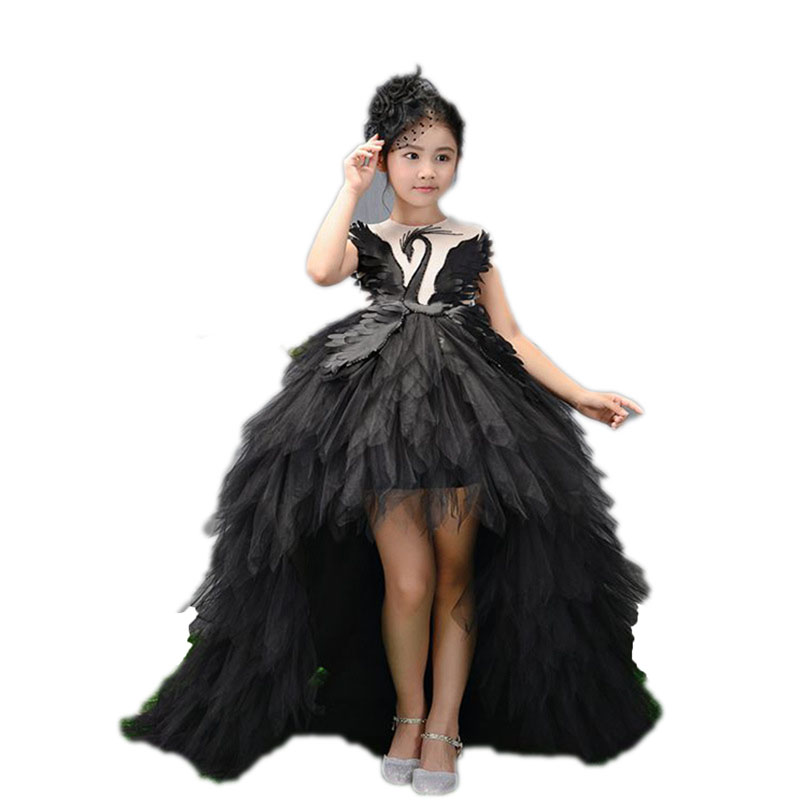 Long Trailing   Flower     Girl     Dresses   Ball Gown Kids Pageant   Dress   Birthday Party Stunning Swan Feather Princess   Dresses   E109