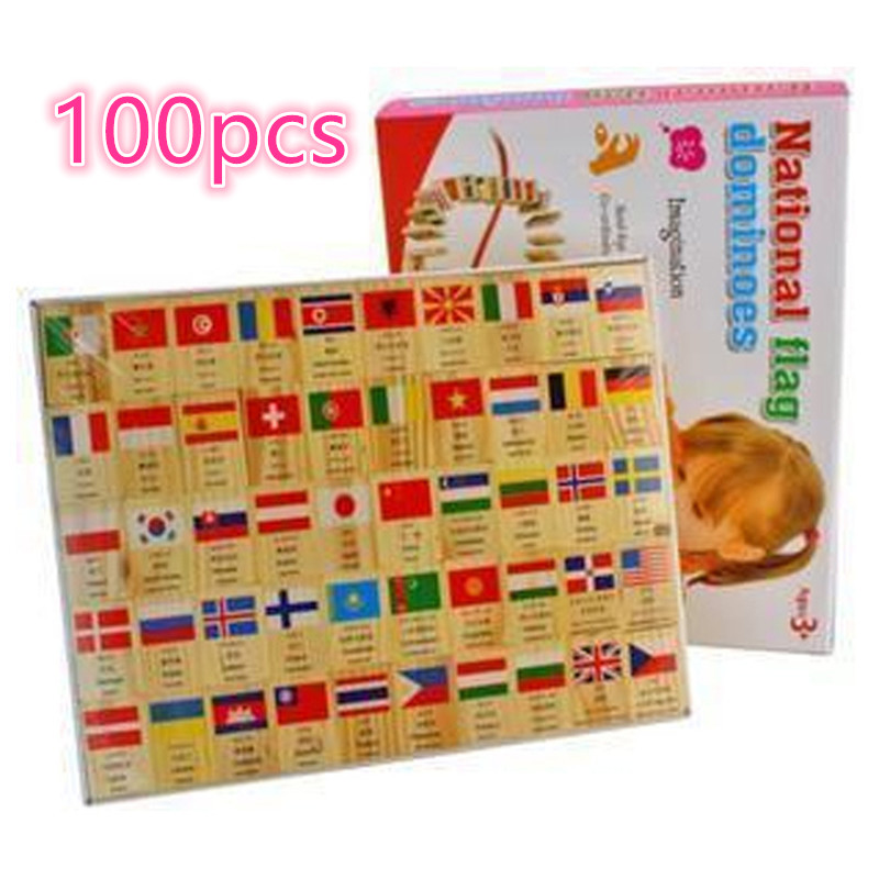 wholesale  Wooden Educational National Flag and Currency Domino Building Blocks Toys , 1set=100pcs free shipping купить