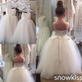 Cheap sheer tulle  backless Flower Girl Dress For Wedding formal occasion Holy the first communion ball gown with bow sash