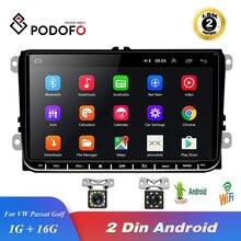 Podofo راديو السيارة الاندورويد 9 2GB/1GB لتحديد المواقع والملاحة 2din Autoradio واي فاي بلوتوث ستيريو العالمي مشغل وسائط متعددة لشركة فولكس فاجن جولف