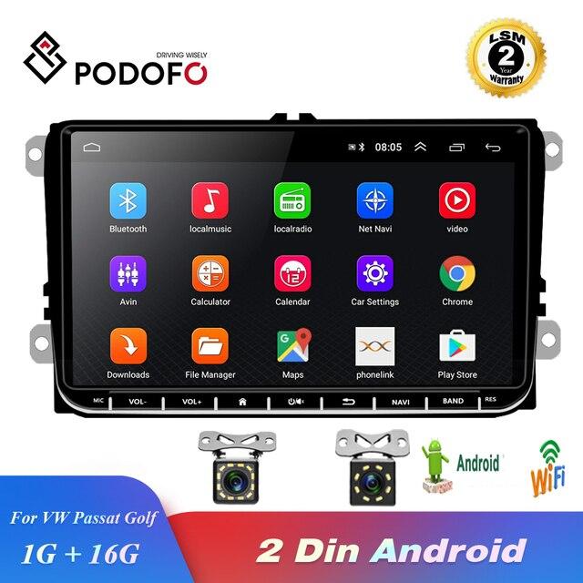 Podofo Radio samochodowe z androidem 9 2GB/1GB nawigacja GPS 2din Autoradio WIFI Bluetooth Stereo uniwersalny odtwarzacz multimedialny do VW Golf