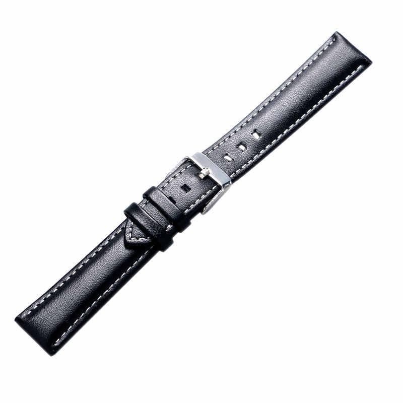 18/20/22/24mm bracelet de montre en cuir véritable noir pour femmes hommes heures PD0146