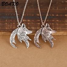Men Women Couple Necklace Wolf Yin Yang Interlocking Animal Matching Paired Pendant Lover Best Friend Jewelry