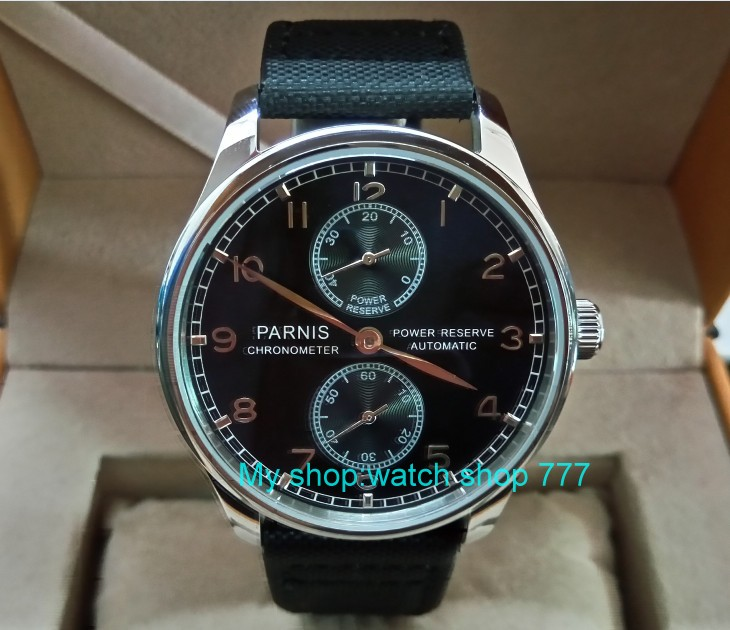 43mm PARNIS black dial ST25 Automatic Self-Wind movement men's watches power reserve Mechanical watches Fxdf199a
