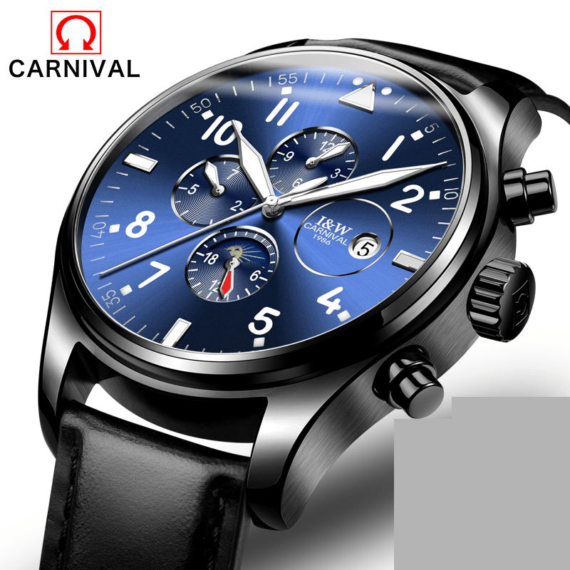 Carnival Watch Men Moon Phaes Automatic Mechanical Luminous Black Stainless Steel Waterproof multifunction Leather Watches цена и фото