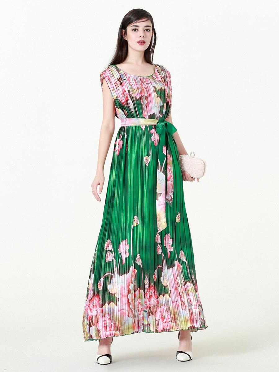 TUHAO robe femme drapée plissée élégante taille haute ceintures imprimé Floral vert Patchwork robes de grande taille 6XL 5XL robe CM239