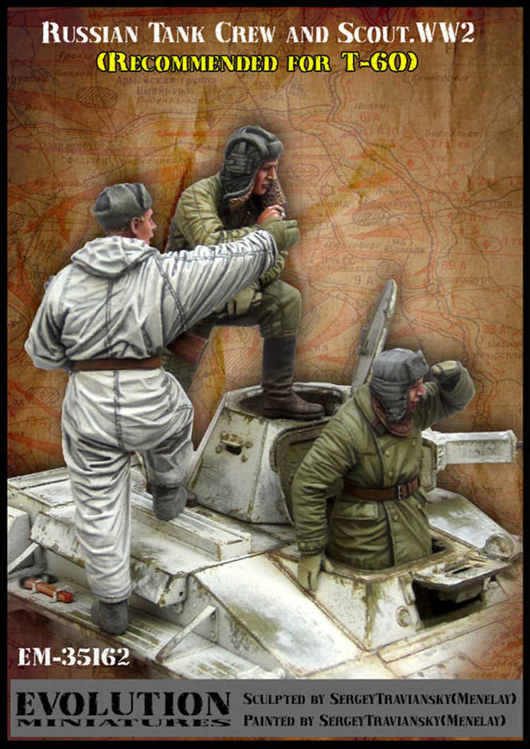1/35 Soviet tank crew and scout, 3 figure, Resin Model Soldier GK, Military theme of World War II, Unassembled and unpainted kit