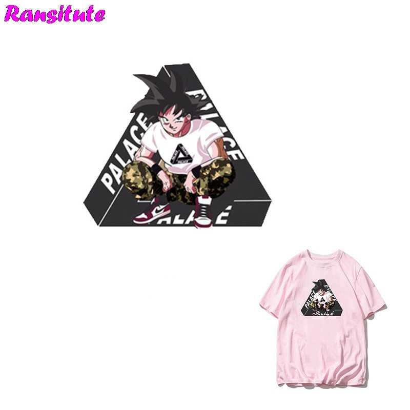 Ransitute R345 ドラゴンボール 2 孫悟空人格 DIY パッチカップル Tシャツ A-レベル粉末熱伝達デコレーションホットマップ