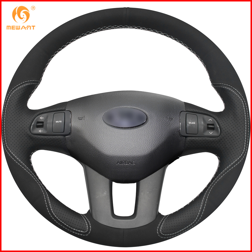 MEWANT Black Leather Black Suede Car Steering Wheel Cover for Kia Sportage 3 2011 2014 Kia