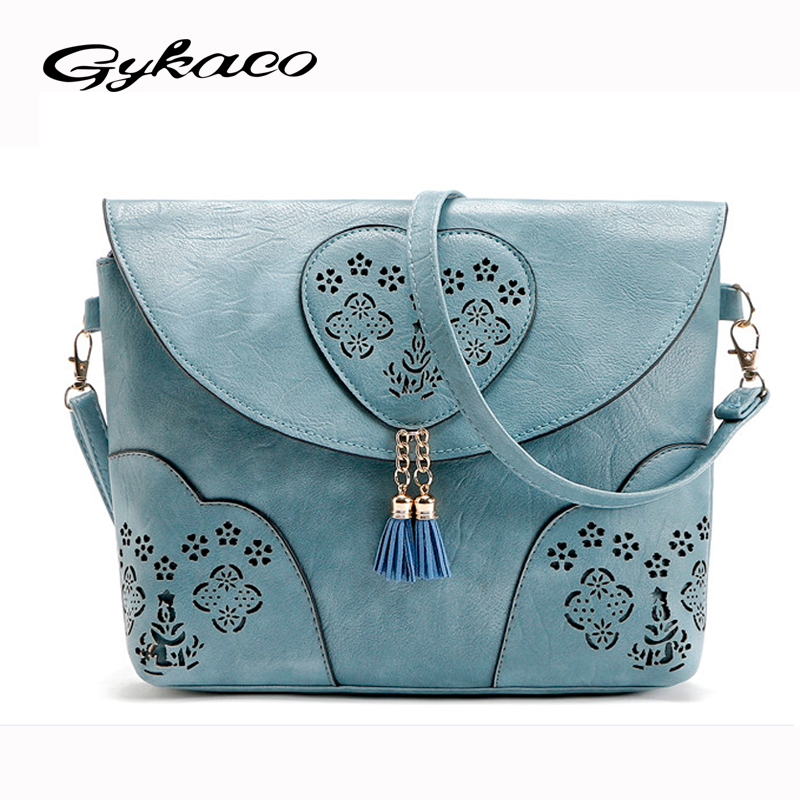 Vintage Casual Women Bag Hollow Out Crossbody Bags PU Leather Small Shoulder Bag Brand Women Messenger Bags Bolsas femininas