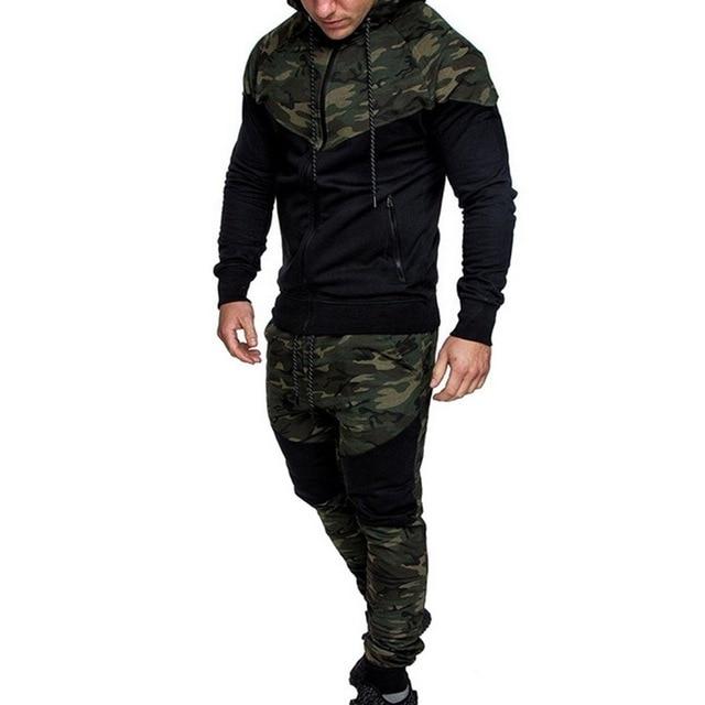 2018 New Camouflage Printed Men Set Causal Patchwork Jacket Men 2Pcs Tracksuit Sportswear Hoodies Sweatshirt Pants Jogger Suit 2