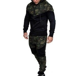 Image 3 - 2020 New Camouflage Printed Men Set Causal Patchwork Jacket Men 2Pcs Tracksuit Sportswear Hoodies Sweatshirt Pants Suit