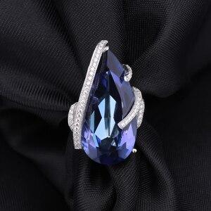 Image 3 - GEMS bale 17.8Ct doğal Iolite mavi mistik kuvars taş yüzük 925 ayar gümüş kokteyl yüzüğü kadınlar için güzel takı