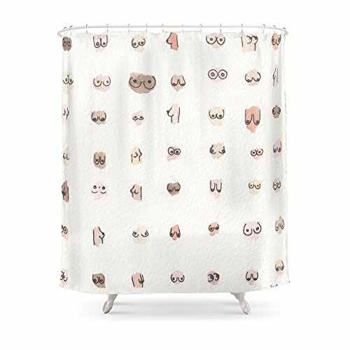 Boobs Shower Curtain Fabric Liner With 12 Hooks 72wx80h Inch