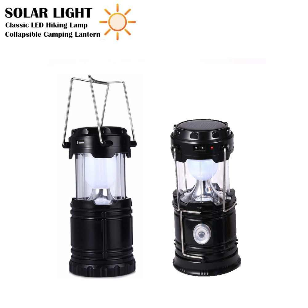 Vintage Portable LED Solar Lamp LED Camping Light Outdoor Flashlight Stretchable Hiking Torch Solar LED Lantern for Night Trip