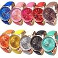 10pc Geneva Watch Women's Dress Clock Wholesale Roman Numerals Faux Leather PU Leather Band Analog Watch Relogio Feminino