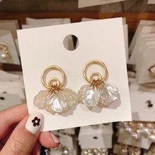 Boucles d'oreilles en forme de coquille dorée pour femmes, nouvelle collection de boucles d'oreilles à la mode géométrique, style bohème, 2019