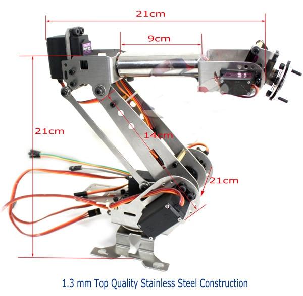 Helt monterad 6 DOF Arduino Control Kit Aluminium Arm Clamp Claw Maskiner Mekanisk Robot Structure Full Set Mekanisk Arm